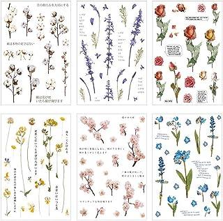 6 Feuilles Autocollants Scrapbooking,Autocollants de Fleur,Gommettes Plantes,pour Ordinateur Portable,Les Planches à roule...