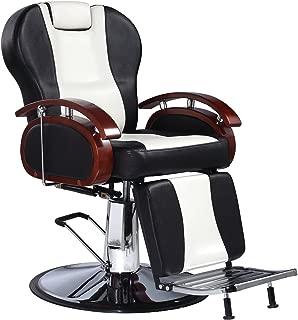 Bsalon Heavy Duty Barber Chair Adjustable Hydraulic Recline Salon Shampoo Spa Equipment PVC Leather White & Black