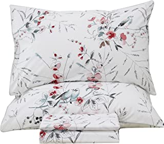 Queen's House Botanical Garden Bird Print Bed Sheets Set EGYPT Cotton Bedding Sheets and Pillowcases-King,J