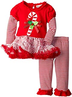 Girls Candy Cane Holiday Dress Outfit Leggings, Red, 12M - 24M