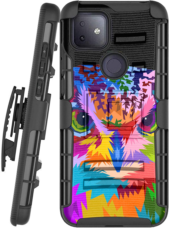 DALUX Hybrid Kickstand Holster Phone Case Compatible with T-Mobile REVVL 4 Plus/REVVL 4+ (2020) - Colorful Owl