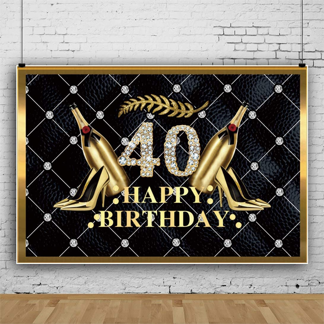 DORCEV 40 Happy Birthday Backdrop Forty Years Old Birthday Party 40th Anniversary Party Background Champagne Diamonds Gold High-Heeled Shoes Black Headboard Wine Party Banner Wallpaper