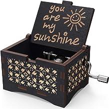 Caja musical de madera NNDUO You are My Sunshine con grabado láser, caja musical de madera, regalo para cumpleaños, Navidad, día de San Valentín, negro, 2.55*1.97*1.5 inch
