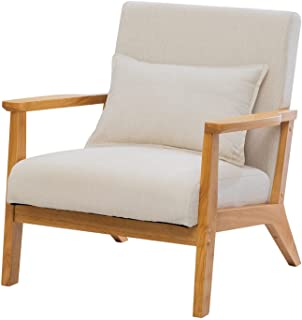 UNICOO - Mid-Century Modern Accent Chair, Fabric Reading Armchair, Easy Assembly, Lounge Chair for Living Room Bedroom (U2...