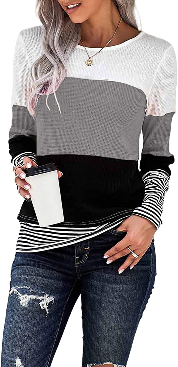 KINGFEN Womens Casual Long Sleeve Color Block Striped Round Neck T Shirts Blouses Tops
