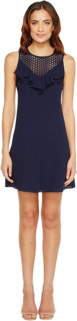 Christin Michaels - Nadine Sleeveless Ruffle Dress with Lace Detail
