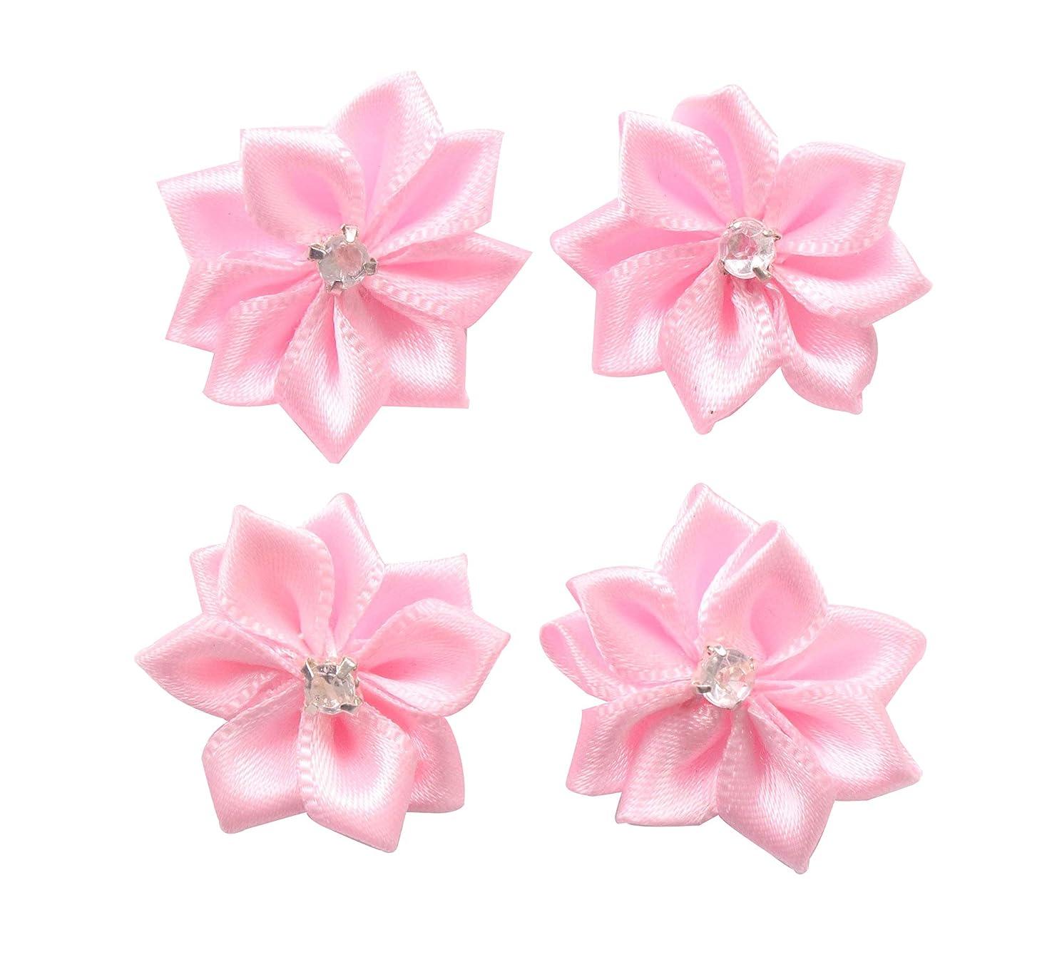 YAKA 60pcs Pink Satin Ribbon Flowers Bows Rose w/Rhinestone Appliques Craft Wedding Ornament 1.1inch