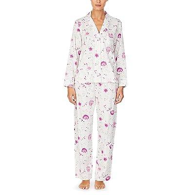 LAUREN Ralph Lauren Sateen Woven Long Sleeve Notch Collar Long Pants Pajama Set (Ivory Floral) Women