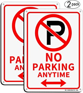 MUXYH No Parking Sign, 2 Pack No Parking Anytime with Arrows Symbol Sign, 10