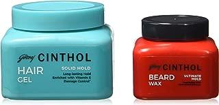 Cinthol Solid Hold Hair Styling Gel, 100ml with Cinthol Beard Wax, 50ml Combo
