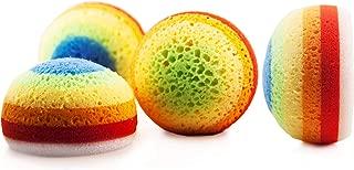 MartiniSPA Italian-Made 2-Pack Bath & Shower Sponge for Face & Body, Exfoliating Sponge for Men & Women, Dual Action Design, Dermatologically Tested – Color: Rainbow.