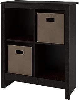 Ameriwood 4-Cube Cubby Bookcase with 2-Storage Bins, Black Roast