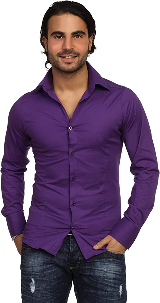 Redbridge, camicia per uomo, 97% cotone, 3% elastan, lila R-2111Q