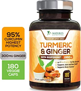 Turmeric Curcumin 95% Standardized Curcuminoids with BioPerine and Ginger 1950mg - Black Pepper for Best Absorption, Made in USA, Best Vegan Joint Pain Relief, Turmeric Ginger Pills - 180 Capsules