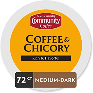 Community Coffee and Chicory Medium Dark Roast Single Serve 72 Ct Box, Compatible with Keurig 2.0 K Cup Brewers,  Full Body Rich Flavorful Taste, 100% Arabica Beans