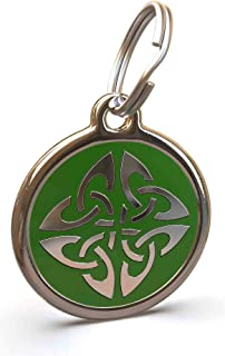 UNLEASHED.DOG Customizable Engraved Cat/Dog ID Tag - Stainless Steel with Triquetra Enamel Inlay