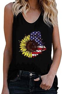 Cami Women Sleeveless Tops Sunflower American Flag Patriotic 4th of July Women's Tank Top Tee Shirts Blouse Shirt Teens (C...
