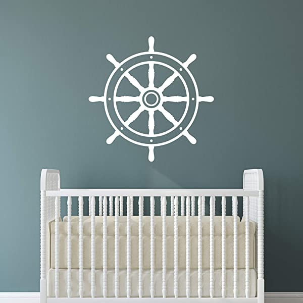Nautical Nursery Wall Decal Ship Wheel Vinyl Wall Art Decor Large 22 In X 22 In Boat Steering Wheel Sailing Theme Wall Sticker For Baby Boys Or Girls Room Kids Playroom Decor White
