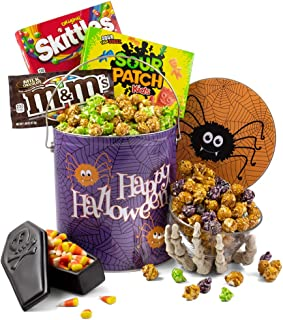 Spooky Snack Tin of Halloween Candy and Halloween Popcorn - Halloween Gifts for Kids, Adults, Coworkers, Friends and Family