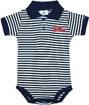 Ole Miss Rebels Newborn Infant Baby Striped Polo Bodysuit