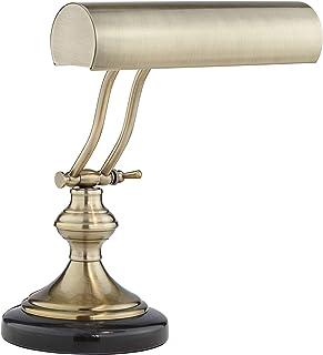 Traditional Piano Banker Desk Lamp LED Adjustable Black Marble Base Antique Brass Shade for Office Table - Regency Hill