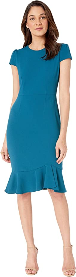 Scuba Crepe Dress w/ Flounce