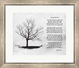 Robert Frost The Road Not Taken Framed Art Print Wall Picture, Silver Scoop Frame, 26 x 22 inches