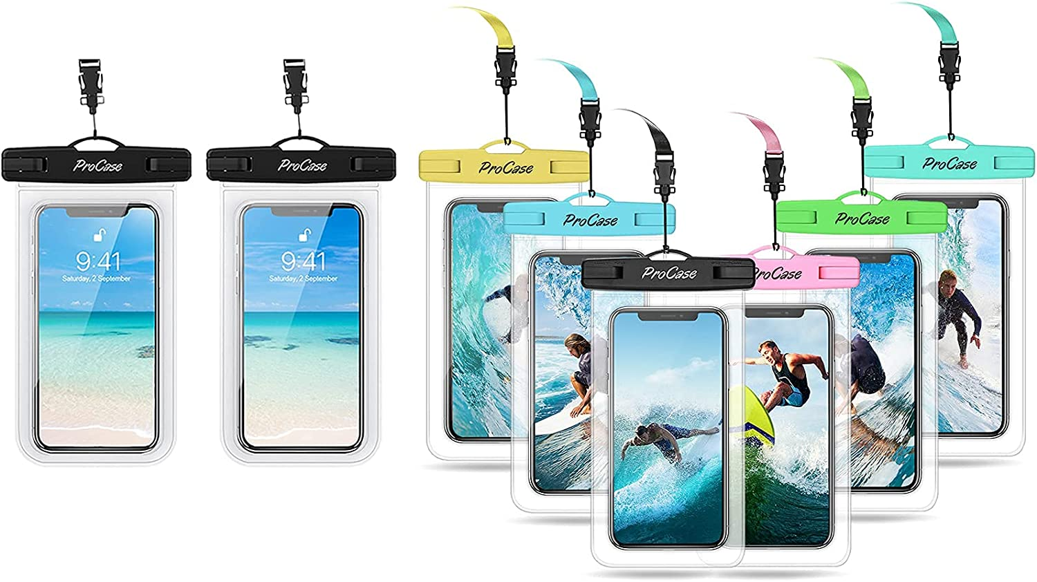 ProCase 2 Pack Universal Waterproof Phone Pouch Bundle with 6 Pack Universal Waterproof Pouch Cellphone Dry Bag Underwater Case for Smartphones up to 7.0