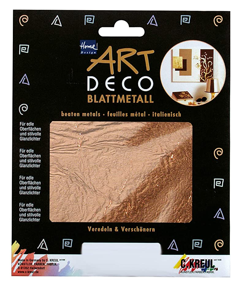 KREUL 99403 Art Deco Leaf Metals, for Finishing on Wood, Glass, Paper, Canvas, styrofoam, Wax, Ceramic, Metal, Leather and Stone, Approx. 14 x 14 cm, 6 Sheets of Copper