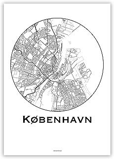 Poster Copenaghen Danimarca Minimalista Mappa - Mappa della città, manifesto di Copenaghen, stampa d'arte