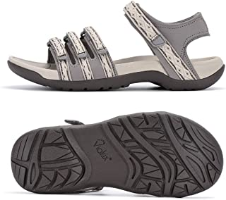 Viakix Hiking Sandals Women – Comfortable Fashionable Athletic Sport Shoes for Walking Outdoors Water Trekking, Beige 7