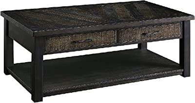 Benjara 2 Drawer Rustic Style Plank Top Coffee Table with Open Shelf, Brown