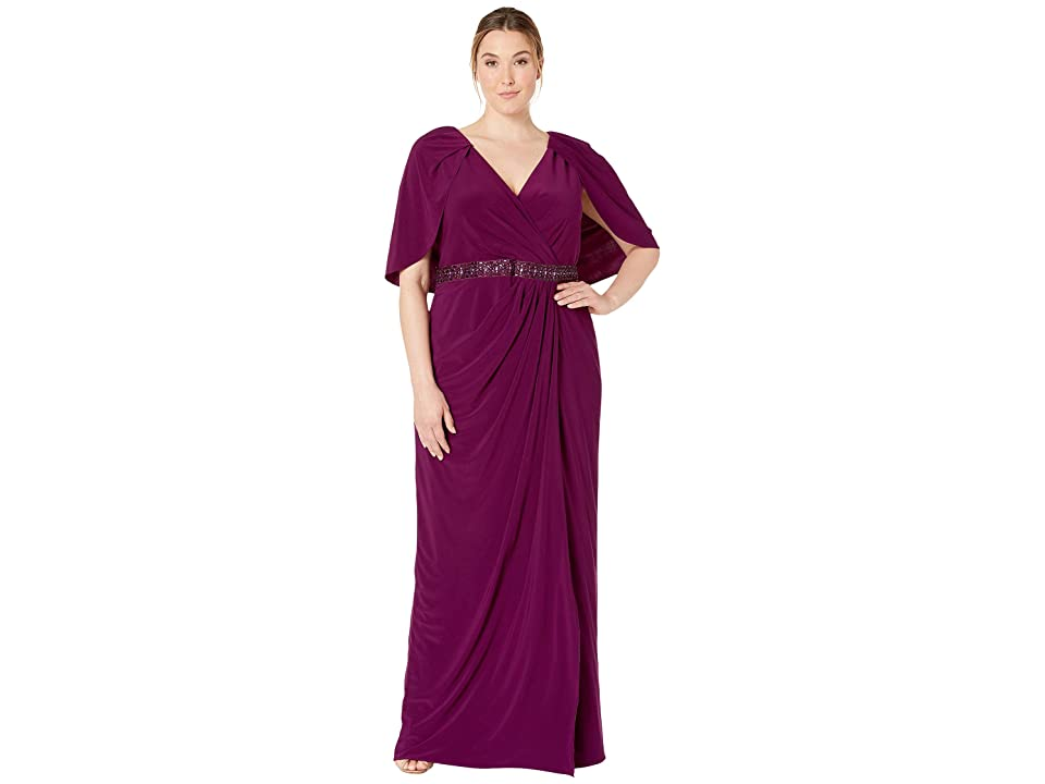 Adrianna Papell Plus Size Long Draped Jersey Dress with Capelet (Rich Raisin) Women