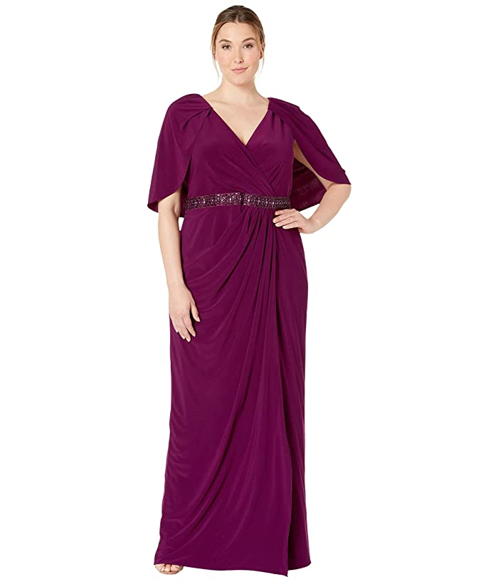 70s Prom, Formal, Evening, Party Dresses Adrianna Papell Plus Size Long Draped Jersey Dress with Capelet Rich Raisin Womens Dress $170.54 AT vintagedancer.com