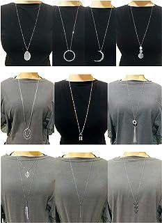 Ofeiyaa 10Pcs Long Pendant Necklace Simple Moon Bar Three Triangle Tassel Lock Sweater Y Shape Punk Chain Choker Necklace for Women Men Gold Silver Tone
