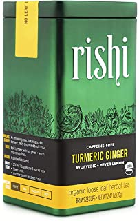 Rishi Tea Turmeric Ginger Loose Leaf Herbal Tea | Immune System Booster, Organic, Caffeine-Free, Ayurvedic, Energy-Boostin...