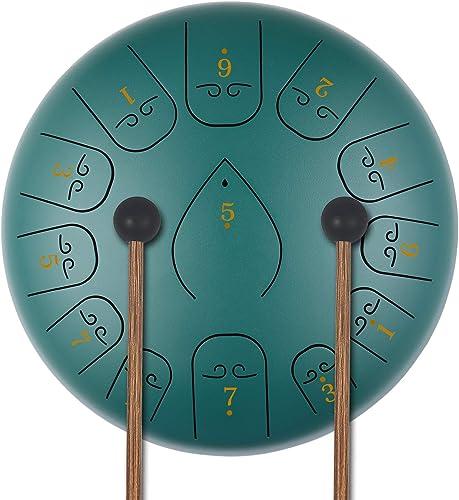 KUDOUT Tongue Drum-13 tons 12 Pouces-handpan instrument -Instrument de Percussion à Tambour Pan Touches C idéal pour ...