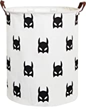 LINENLUX Dirty Clothes Laundry Storage Basket for Bedroom Bathroom Kids Linen Cotton White and Batman 15.7x19.7