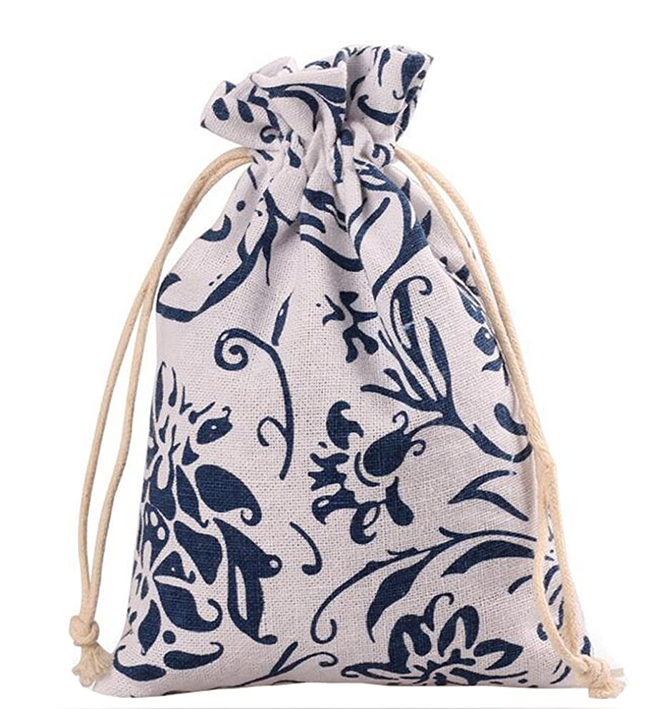 Meta-U Burlap Bags With Drawstring- Storage Bag- Sachets Bag- Gift Pouch For Party | Wedding-12pcs (1317cm(5.26.8inch), Blue and White Porcelain)