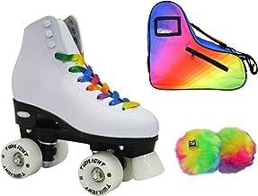 Epic Allure Twilight Rainbow LED Light Up High-Top Quad Roller Skate 3 Piece Bundle (Adult 8)