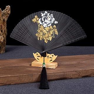 LNYLYR Abanico Plegable, Flor de peonía China Tallado a Mano Abanico de bambú Negro Ventilador Plegable Vacío Oficina Salón Decoración de Escritorio Decoración de Bodas Banquete de Boda Sra. Regal