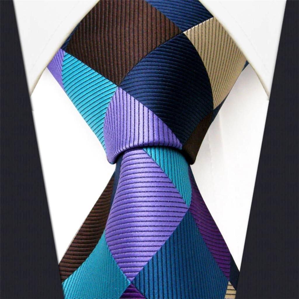 Intrepid Corporate Elite Sky Blue, Blue, Brown and Purple Checked Pattern Men's Necktie Tie 100% Silk Jacquard Handwoven Woven