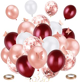 Pllieay 49pcs Rose Gold Confetti Balloon Set Including 30pcs Latex Balloons, 5pcs Confetti Balloons, 12pcs 3d Butterfly an...