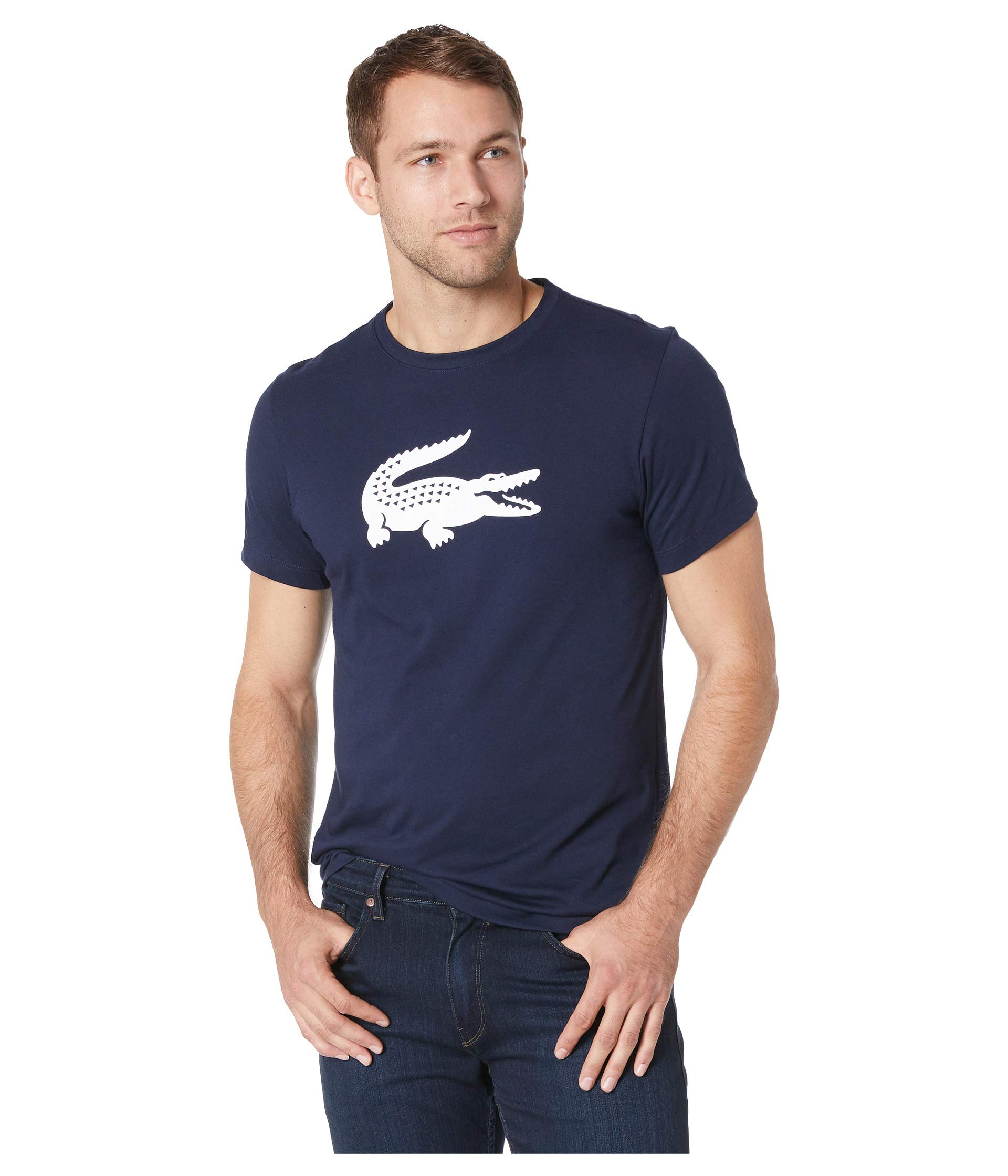 W white Short Sport Sleeve Gator Jersey Lacoste Blue Logo Navy Graphic Tech ZaXnqpPPHw