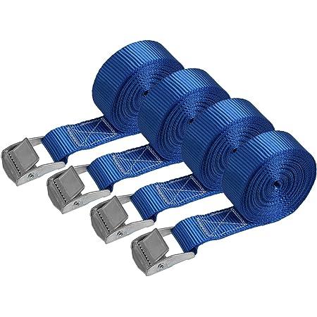 Iapyx 6 Spanngurte Zurrgurte 250kg 2 5m 4m 5m 6m Mit Klemmschloss Schnellspannung 2 5m Blau Auto