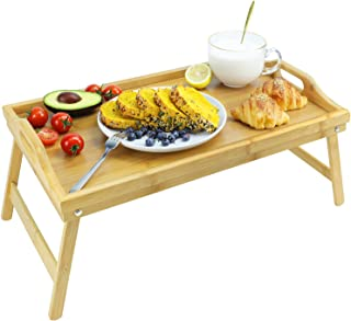 augtarlion bamboo breakfast trays, bed tray with folding legs foldable breakfast trays table with