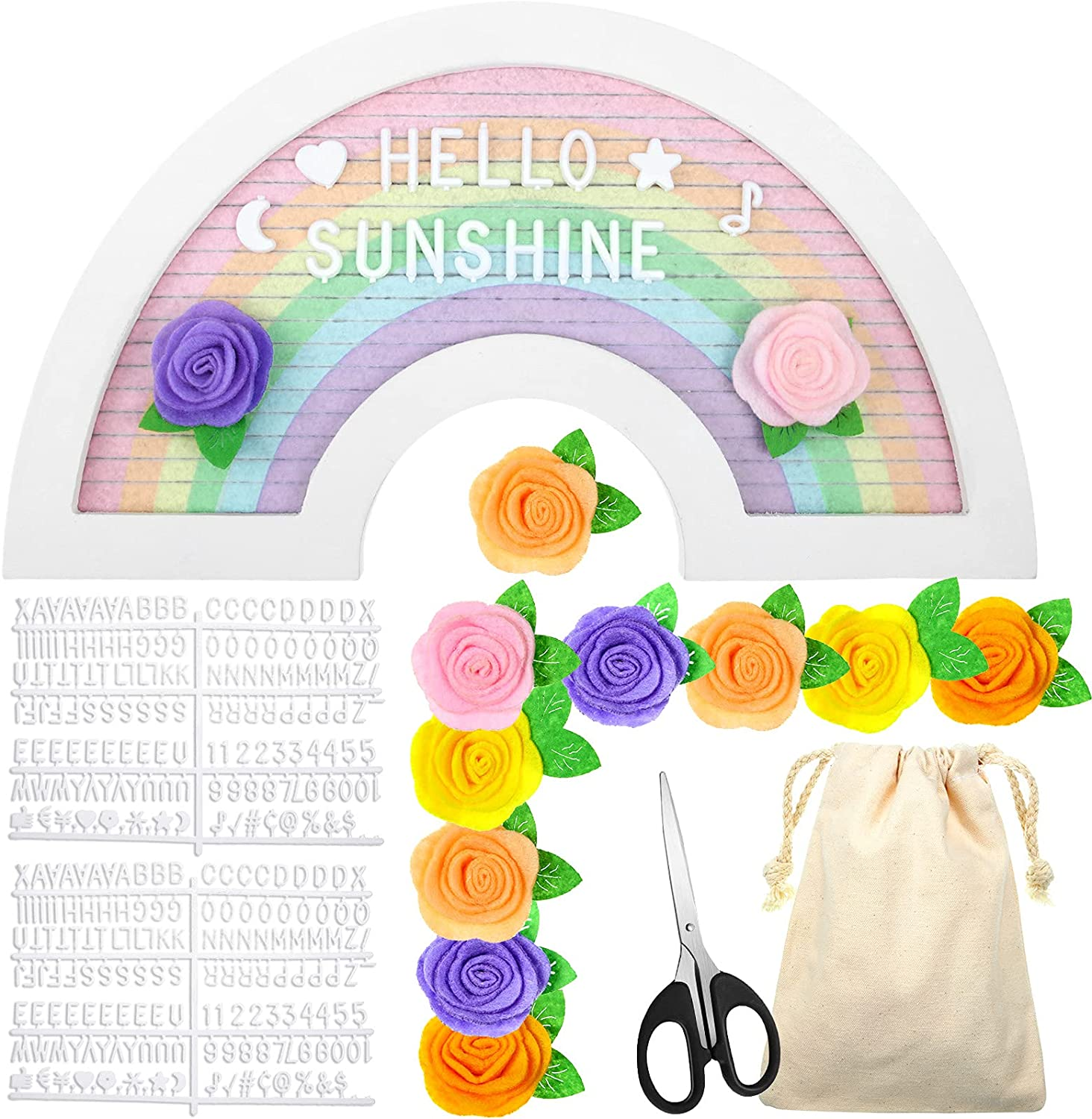 55% OFF Rainbow Limited time sale Flower Felt Letter Board Wooden Cha