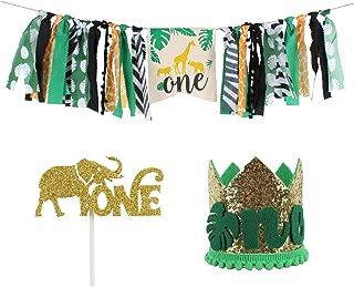 AERZETIX Jungle Safari Animals 1st Wild One Birthday Decoration Set HighChair Burlap Banner Gold Glitter Crown Hat Cake Topper Baby Shower Decoration Supplies