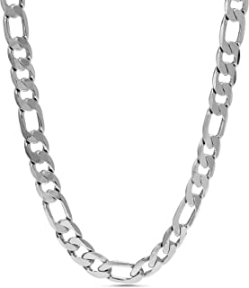Nautica 3mm 16 Inch Figaro Chain Necklace for Men or Women in Rhodium Plated Brass