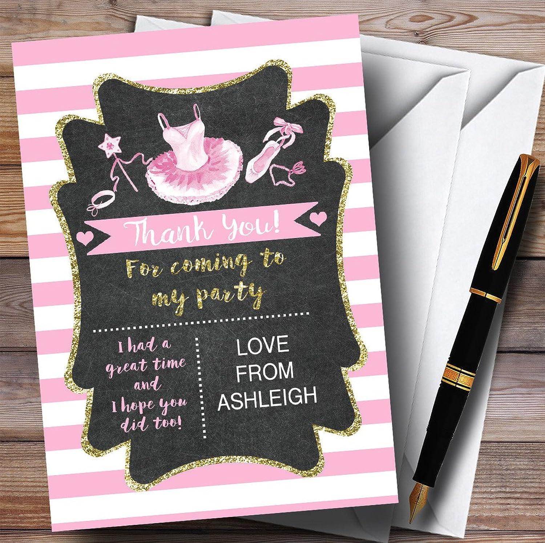 Silver & Pink Chalk Ballerina Ballet Party Thank You Cards